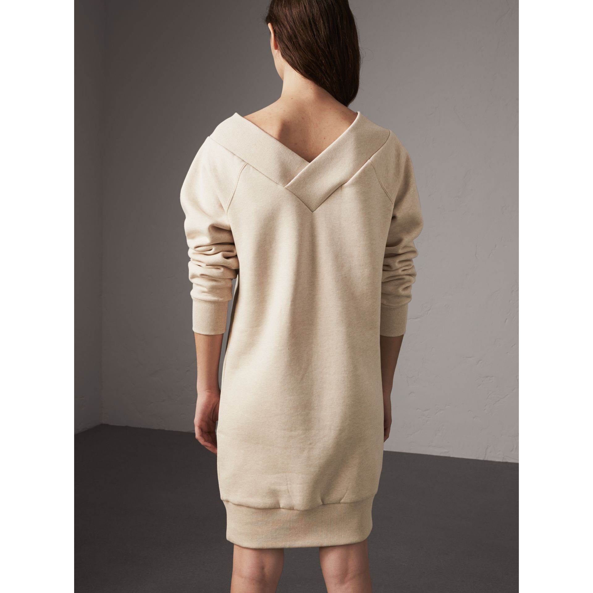 Cotton Blend V-neck Sweater Dress in Oatmeal Melange - Women | Burberry - gallery image 3