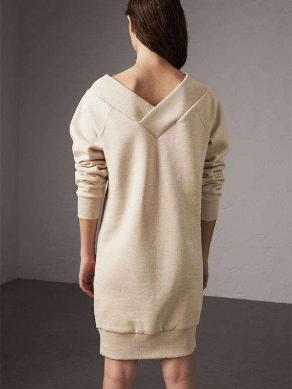 Cotton Blend V-neck Sweater Dress in Oatmeal Melange - Women | Burberry - cell image 2