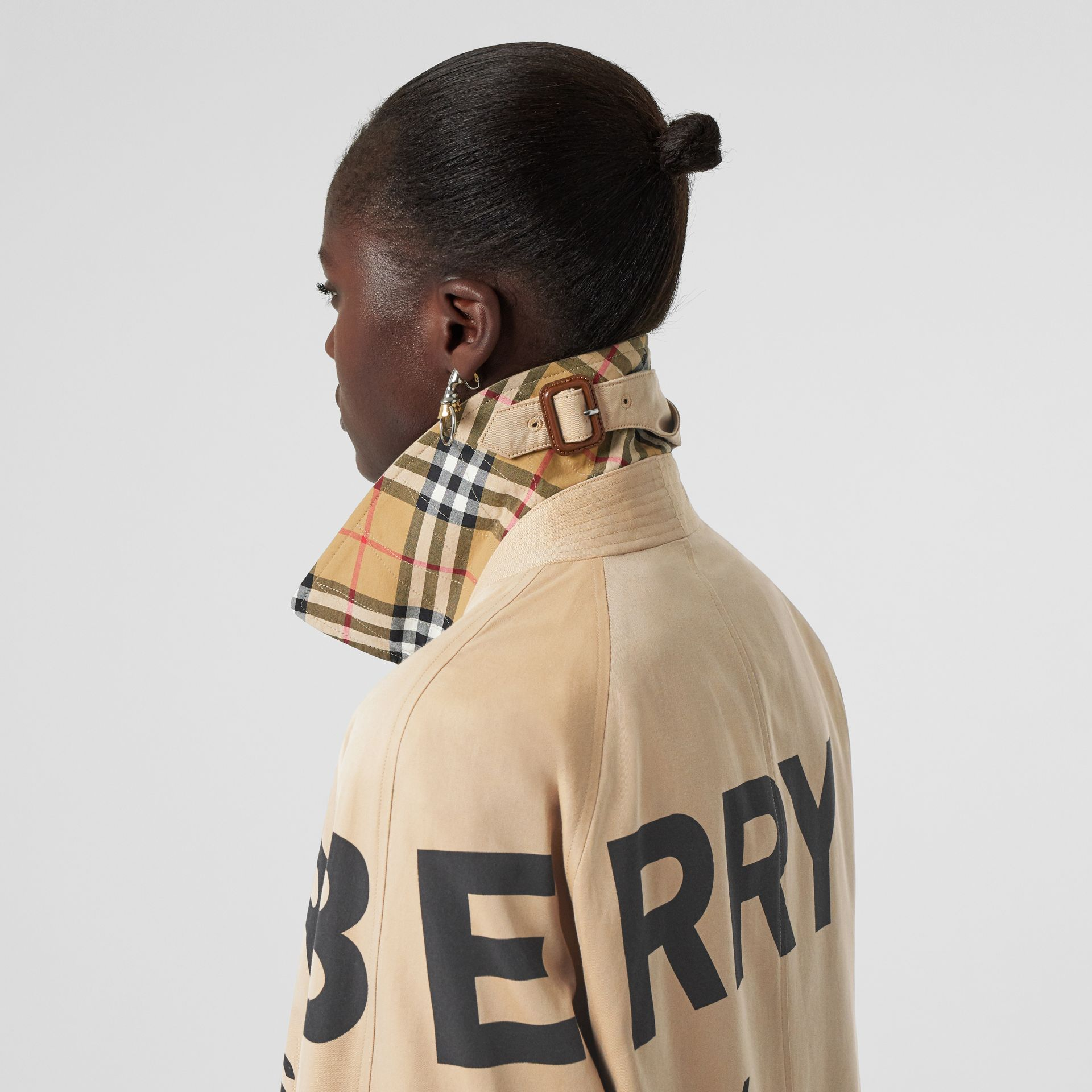 Horseferry Print Cotton Gabardine Car Coat in Honey - Women | Burberry - gallery image 5