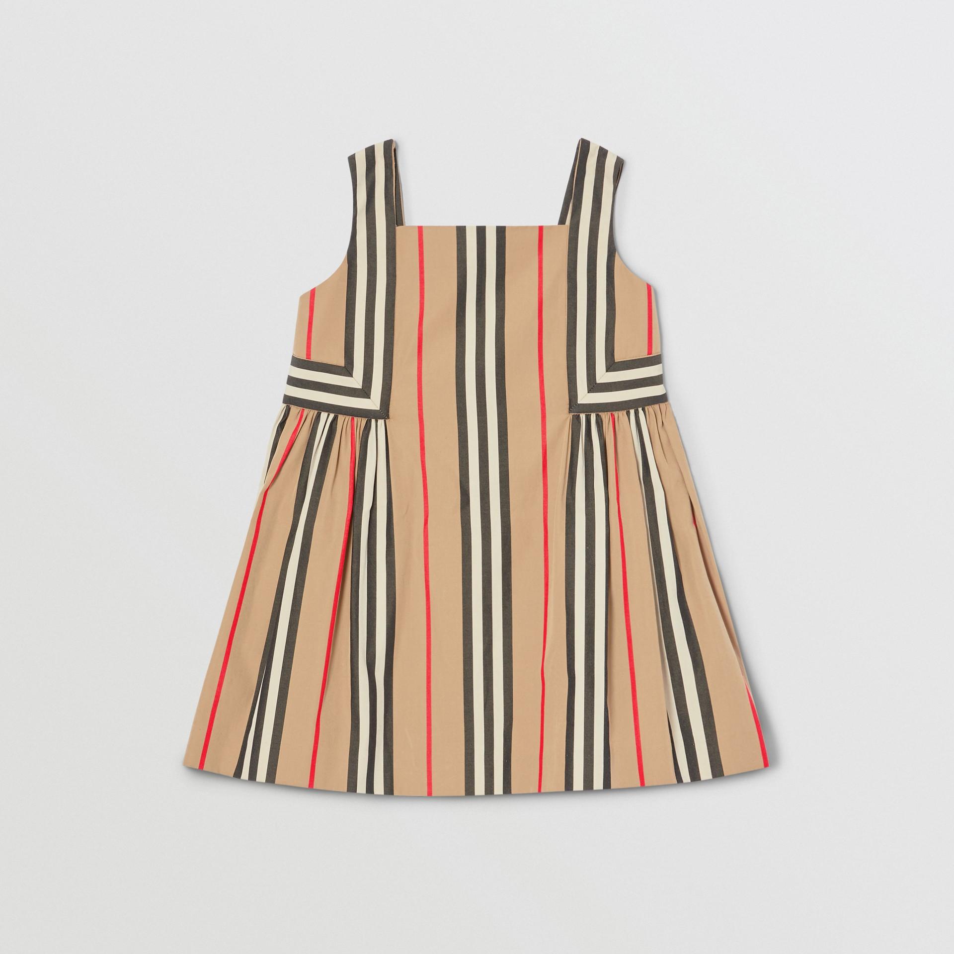 Icon Stripe Cotton Poplin Dress in Archive Beige - Children | Burberry United States - gallery image 0