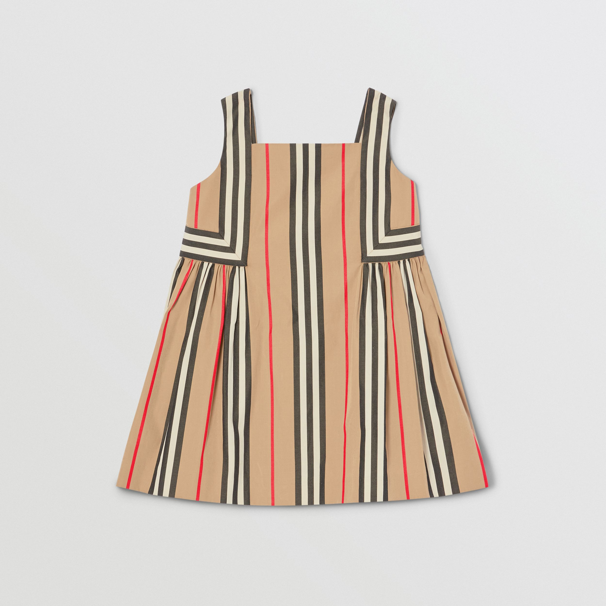 Icon Stripe Cotton Poplin Dress in Archive Beige - Children | Burberry - 1