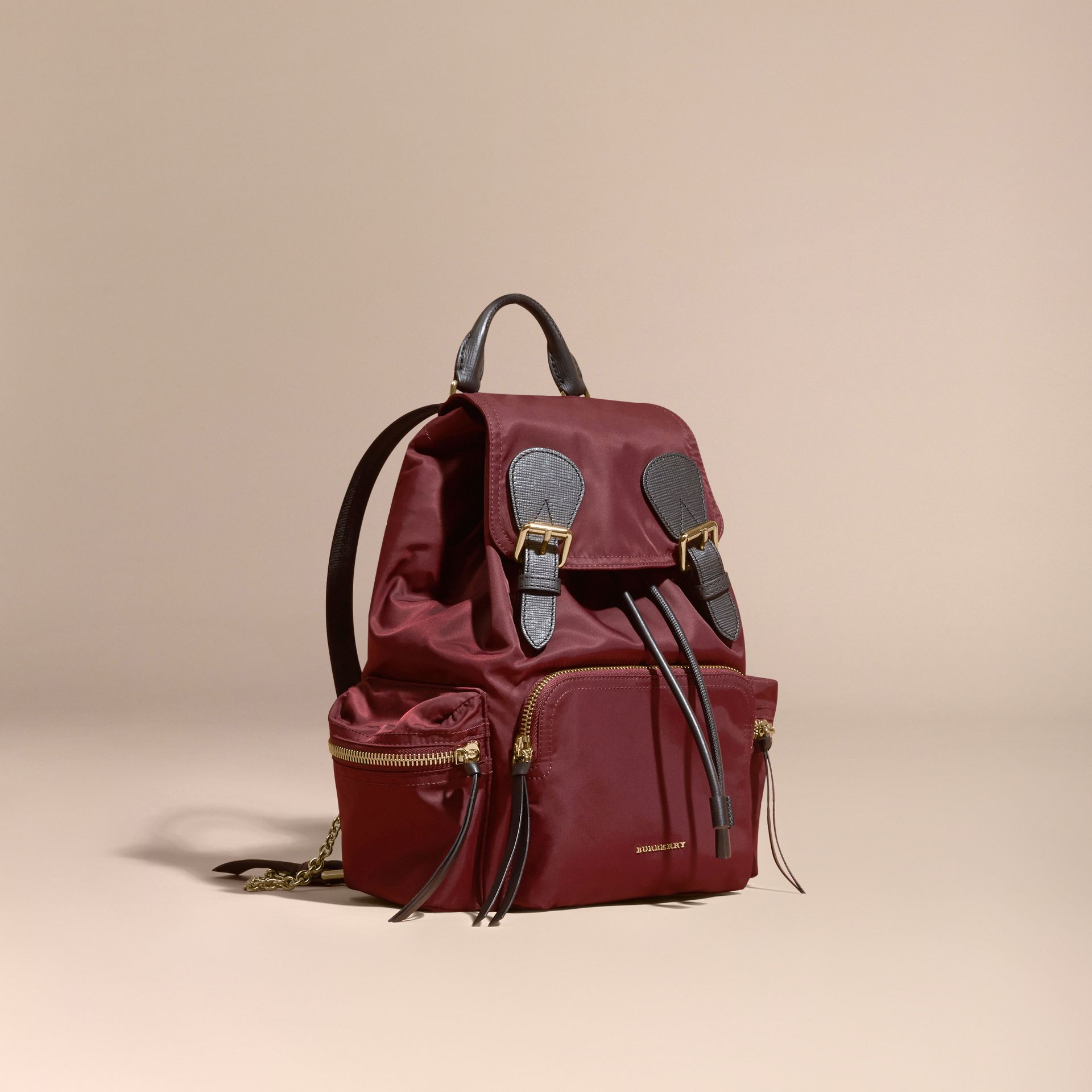 The Medium Rucksack in Technical Nylon and Leather Burgundy Red - gallery image 1