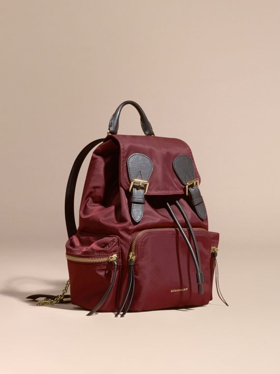The Medium Rucksack in Technical Nylon and Leather Burgundy Red
