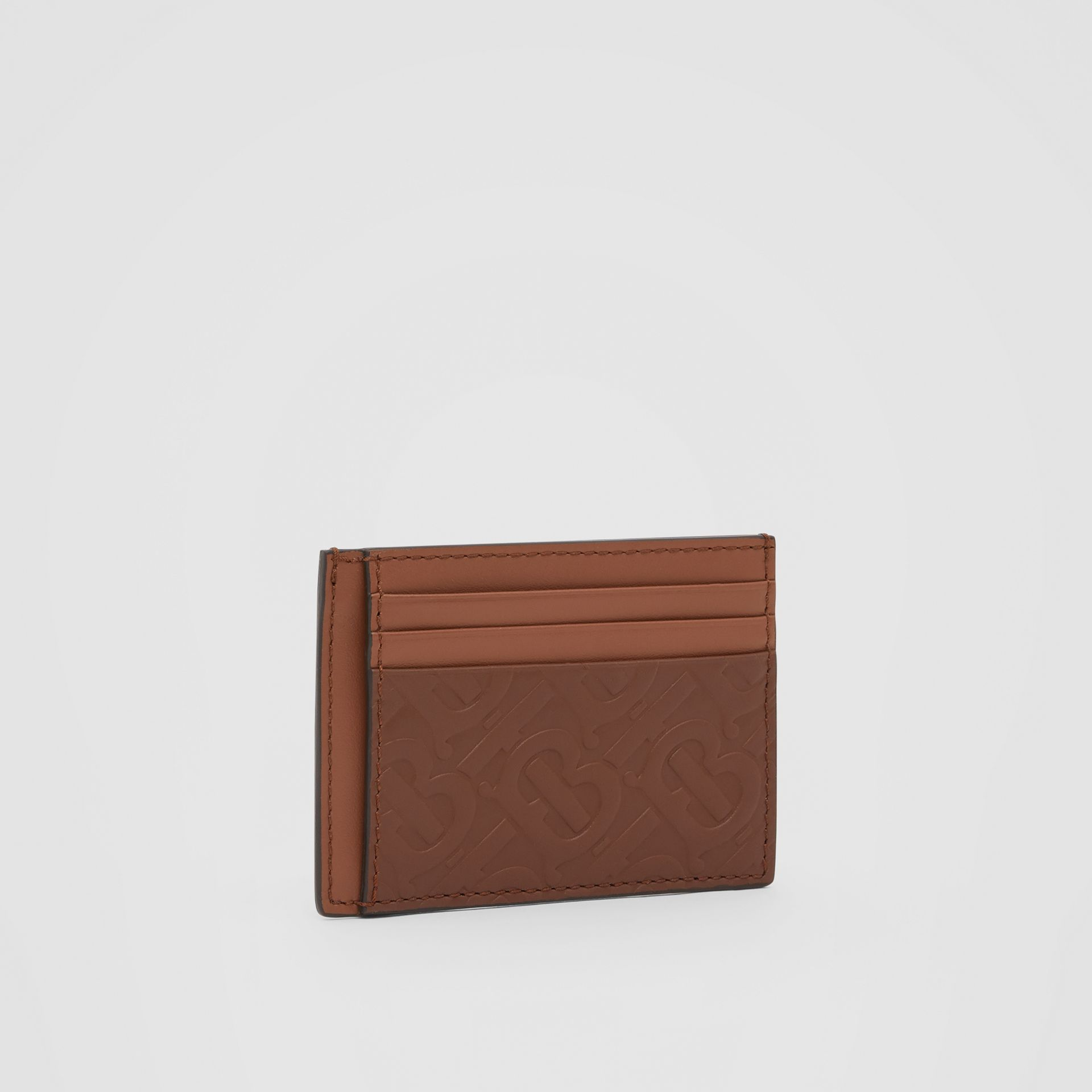 Monogram Leather Money Clip Card Case in Dark Tan - Men | Burberry United States - gallery image 3