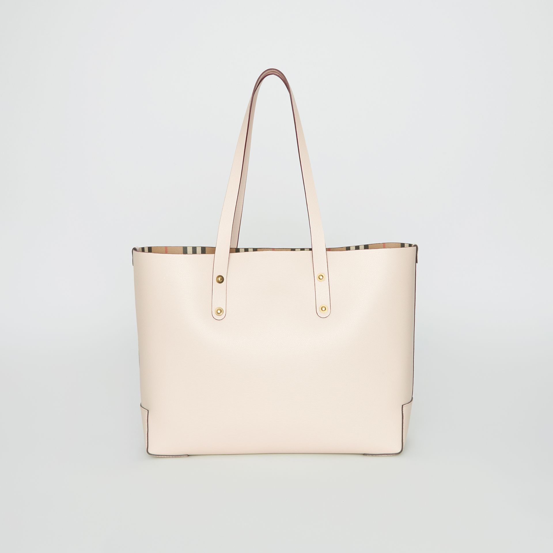 Small Embossed Crest Leather Tote in Limestone | Burberry - gallery image 7