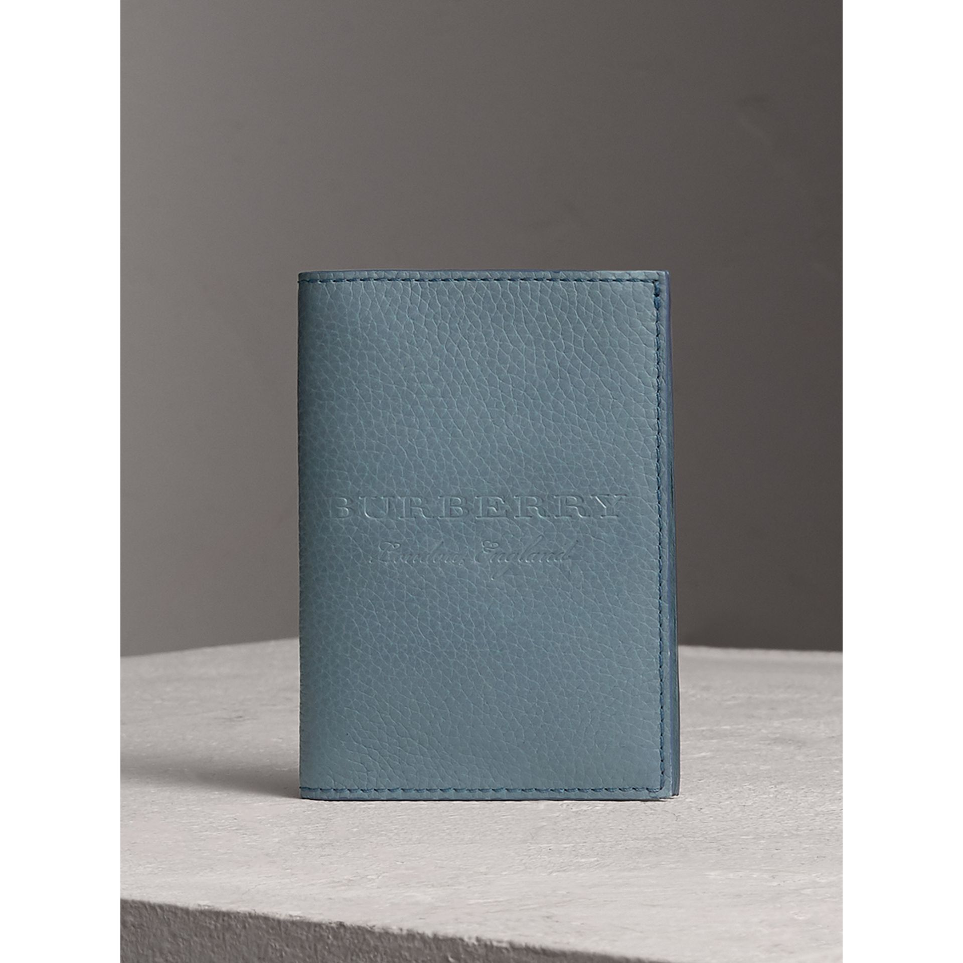 Embossed Leather Passport Holder in Dusty Teal Blue | Burberry - gallery image 0