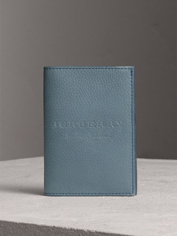 Embossed Leather Passport Holder in Dusty Teal Blue