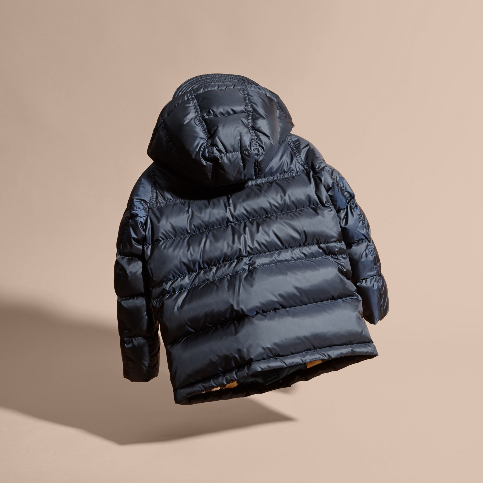 Down-Filled Hooded Puffer Coat in Navy - gallery image 4