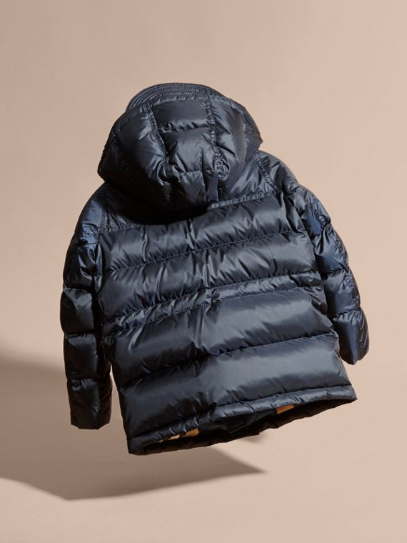 Down-Filled Hooded Puffer Coat in Navy - cell image 3