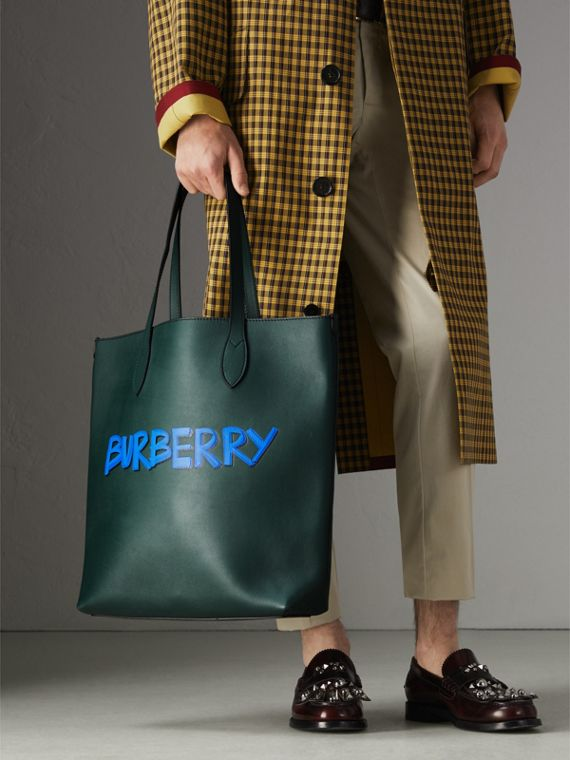 Graffiti Print Bonded Leather Tote in Deep Bottle Green | Burberry Canada - cell image 3