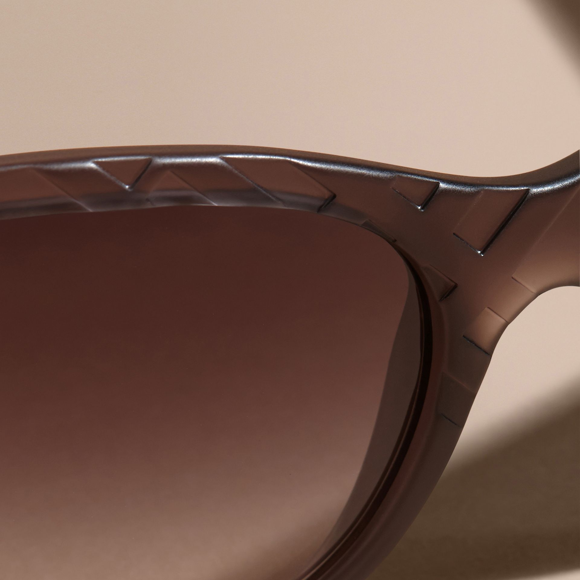 Black 3D Check Square Frame Polarised Sunglasses - gallery image 5