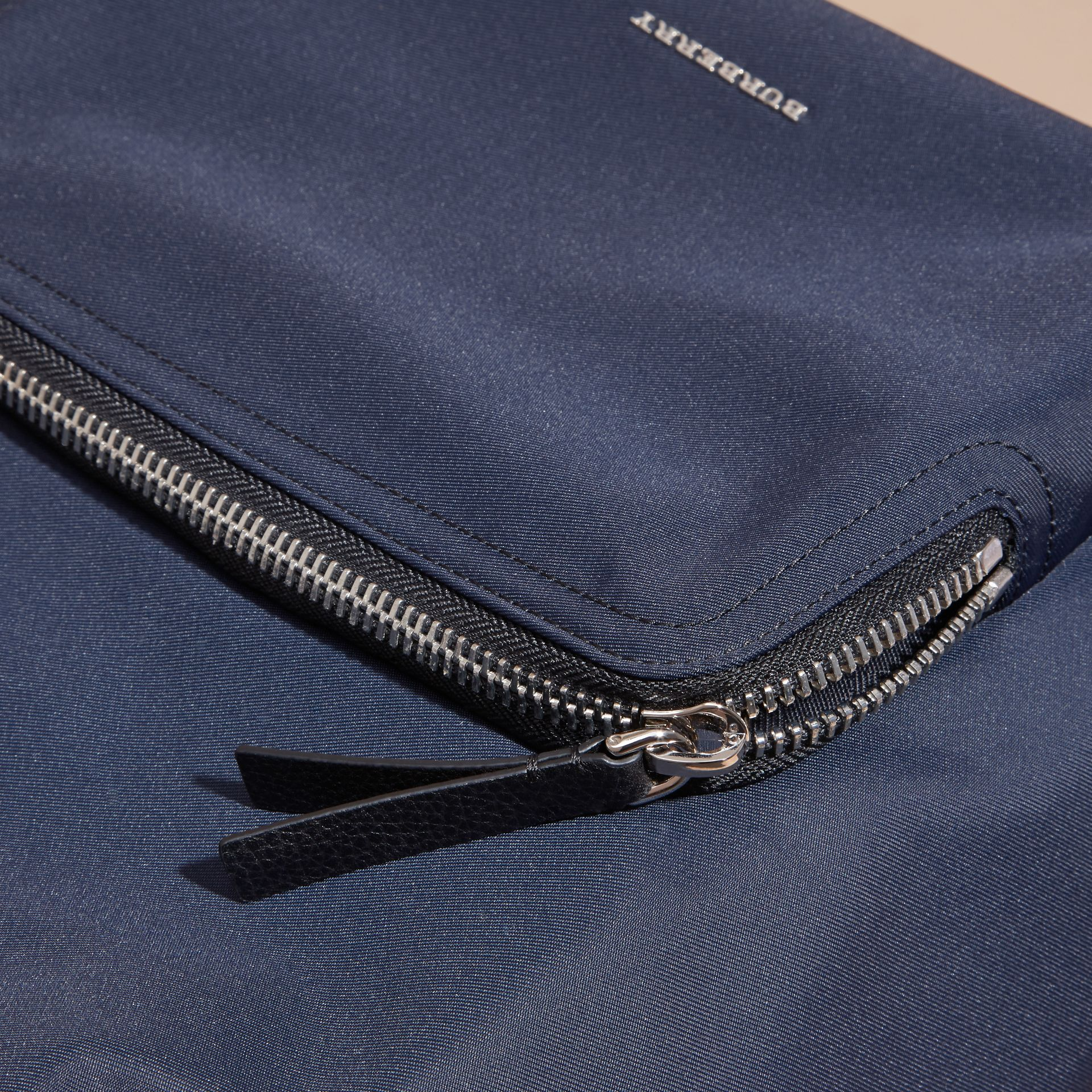 Leather Trim Technical Backpack in Dark Navy - Men | Burberry Canada - gallery image 2