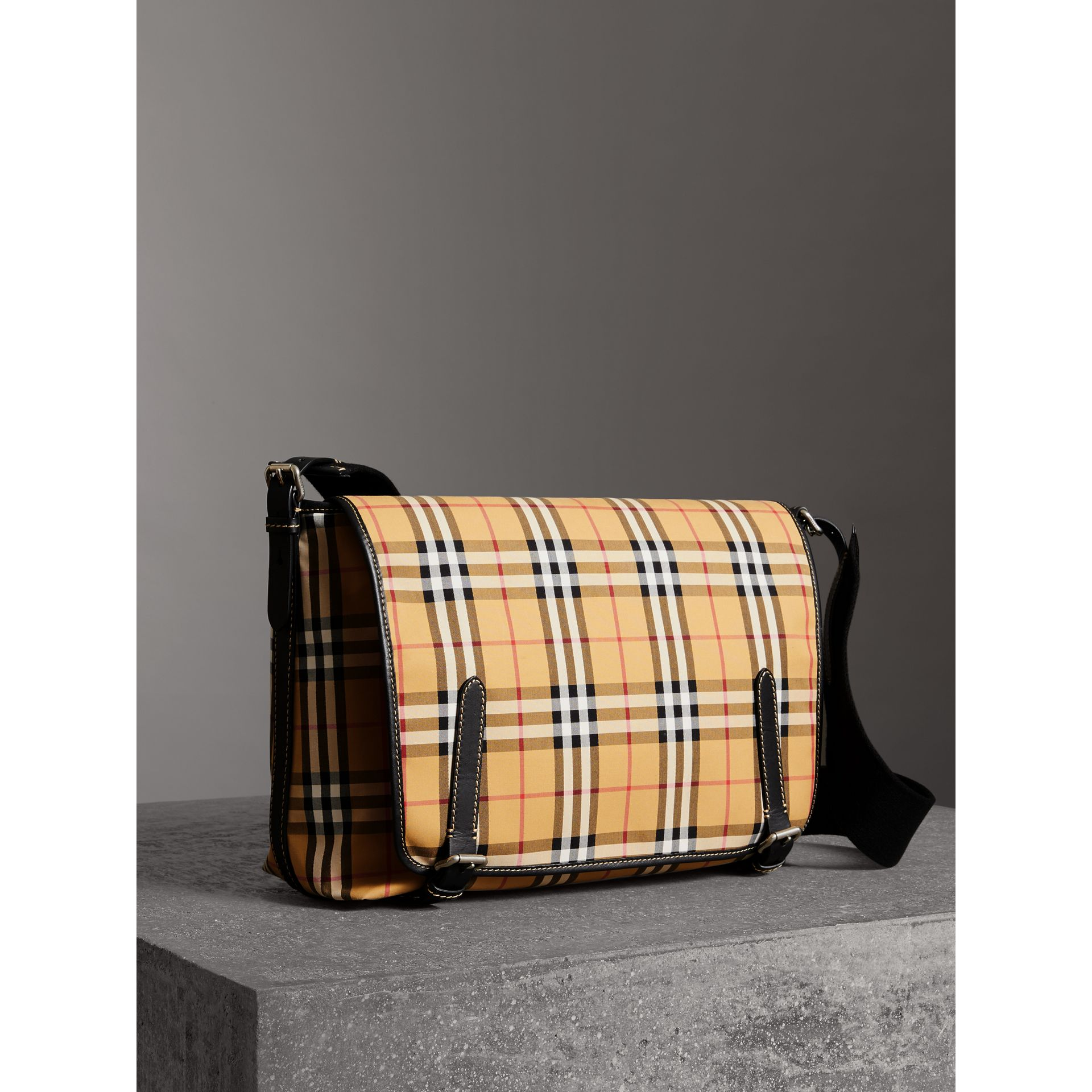 Large Leather Trim Vintage Check Messenger Bag in Antique Yellow/military Red - Men | Burberry - gallery image 7
