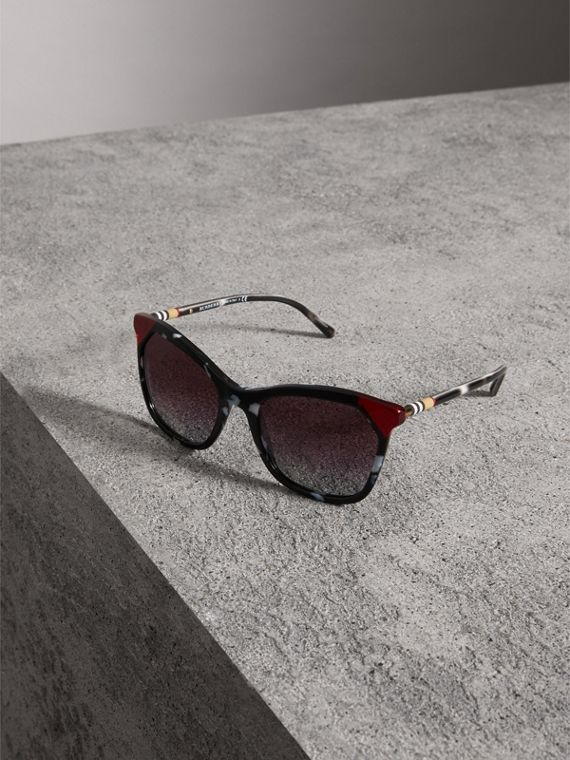Tortoiseshell Square Frame Sunglasses in Dark Grey - Women | Burberry - cell image 3
