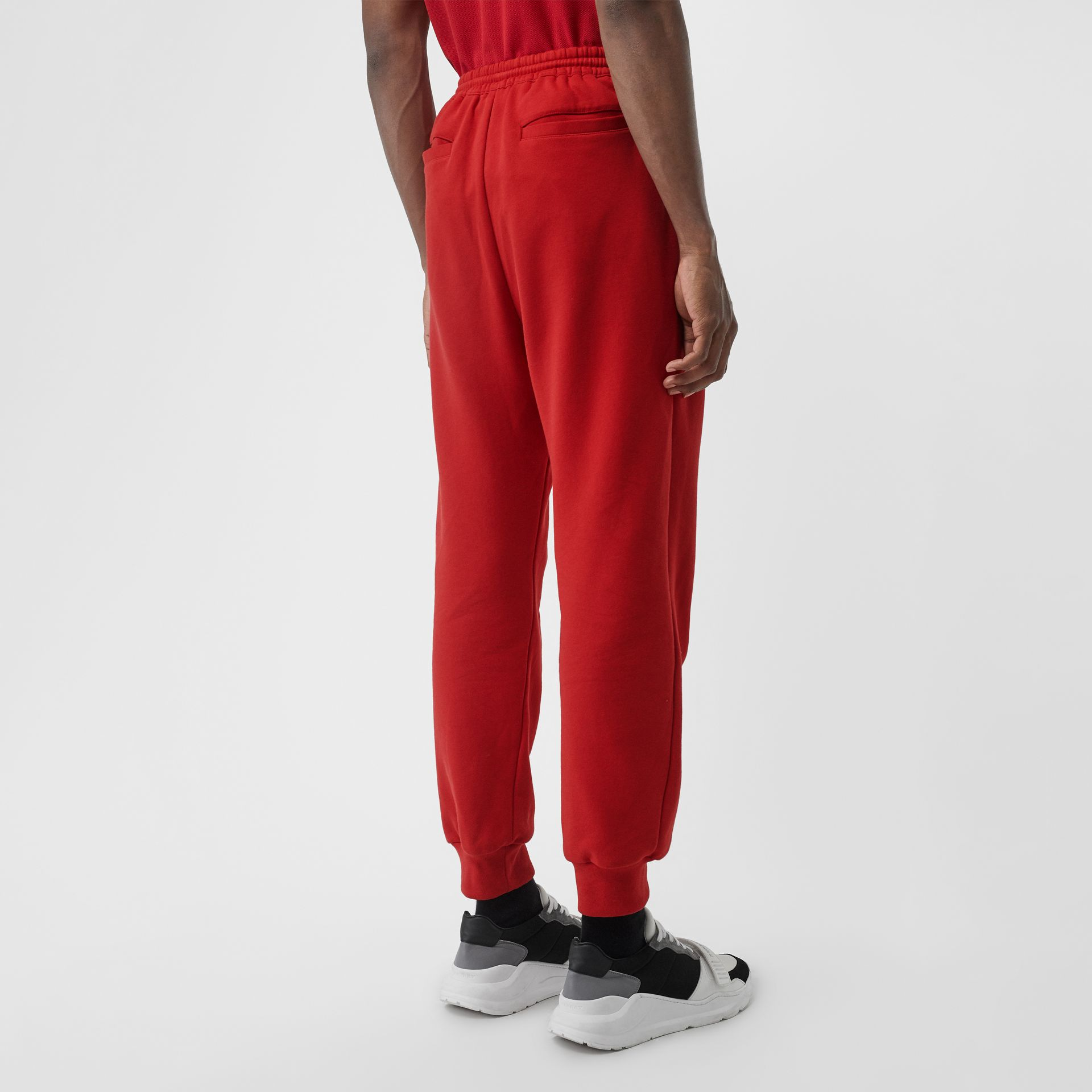 Chequer EKD Cotton Trackpants in Military Red - Men | Burberry - gallery image 2