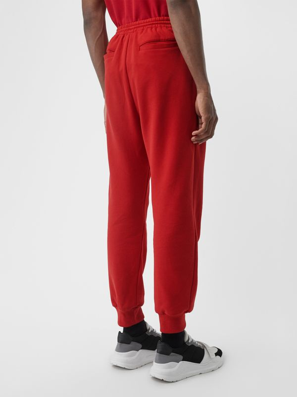 Chequer EKD Cotton Trackpants in Military Red - Men | Burberry United States - cell image 2