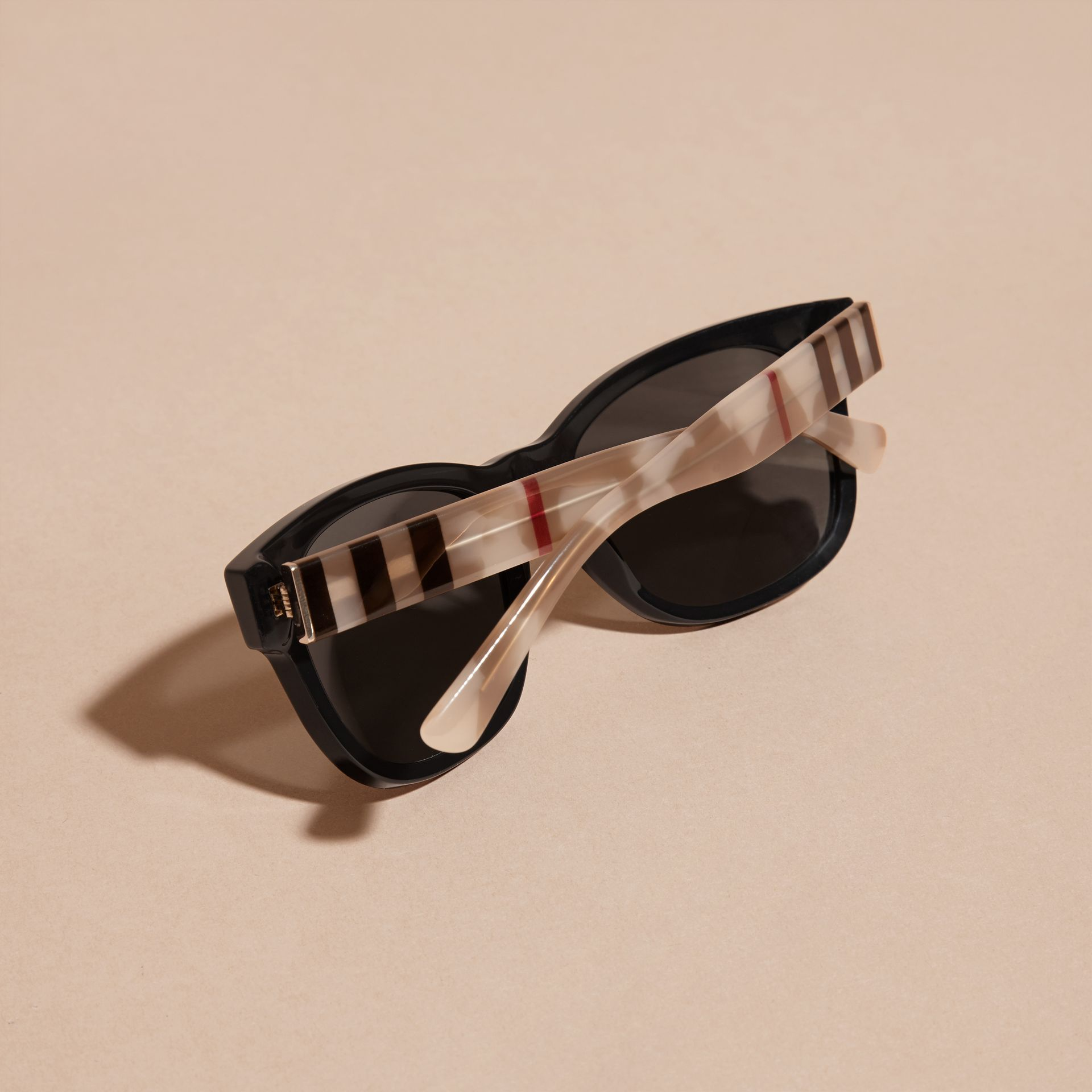Black Check and Camouflage Detail Square Frame Sunglasses Black - gallery image 4