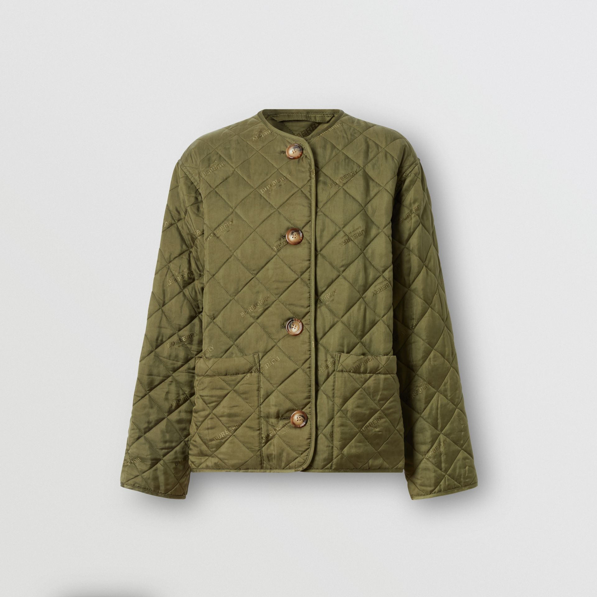 Logo Jacquard Diamond Quilted Jacket in Olive - Women | Burberry Canada - gallery image 3