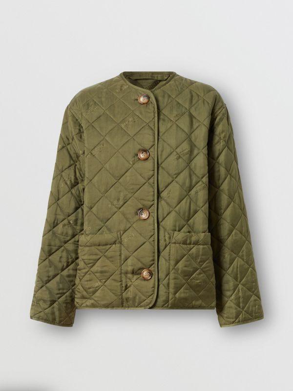 Logo Jacquard Diamond Quilted Jacket in Olive - Women | Burberry - cell image 3