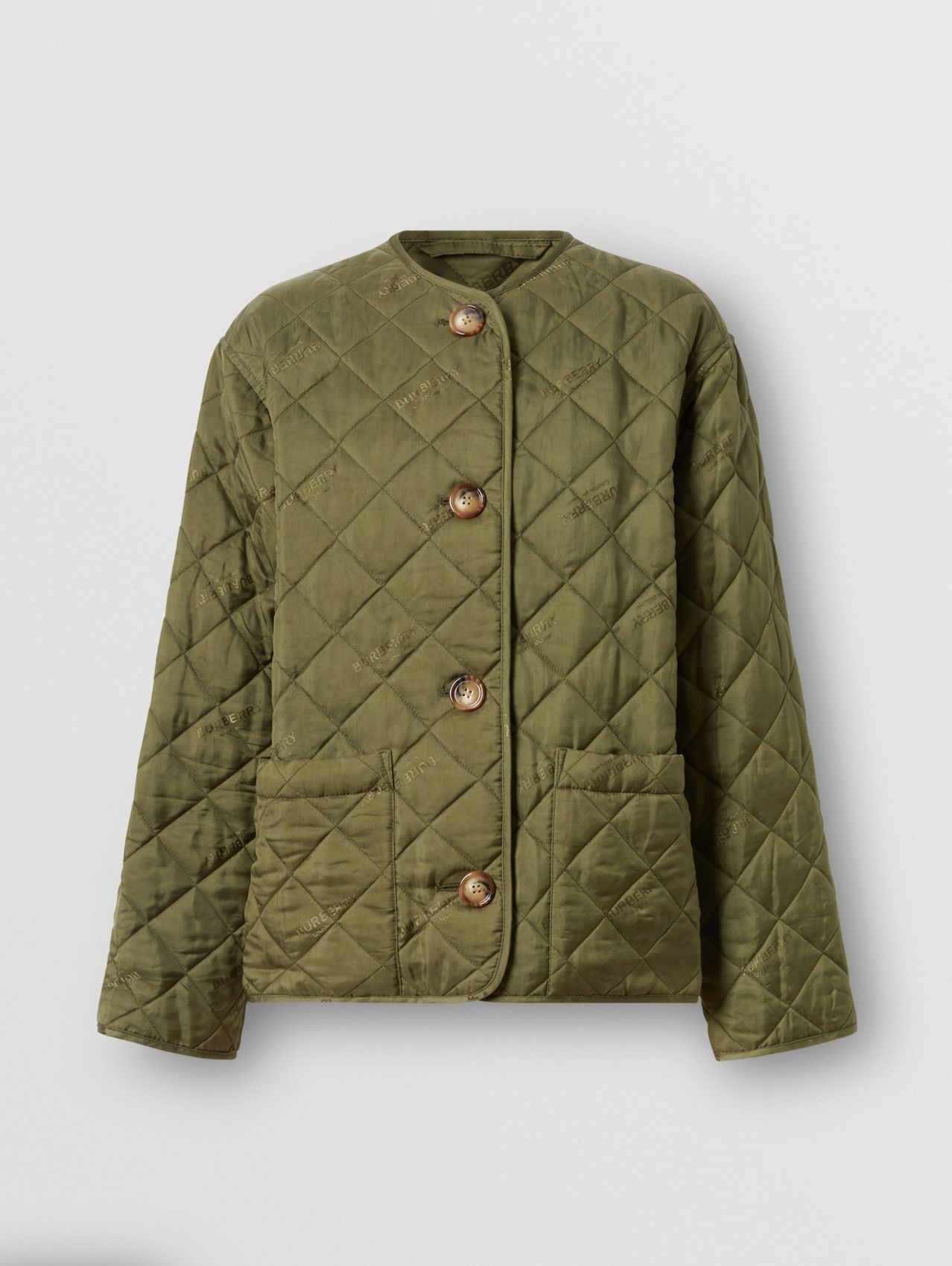 Logo Jacquard Diamond Quilted Jacket in Olive