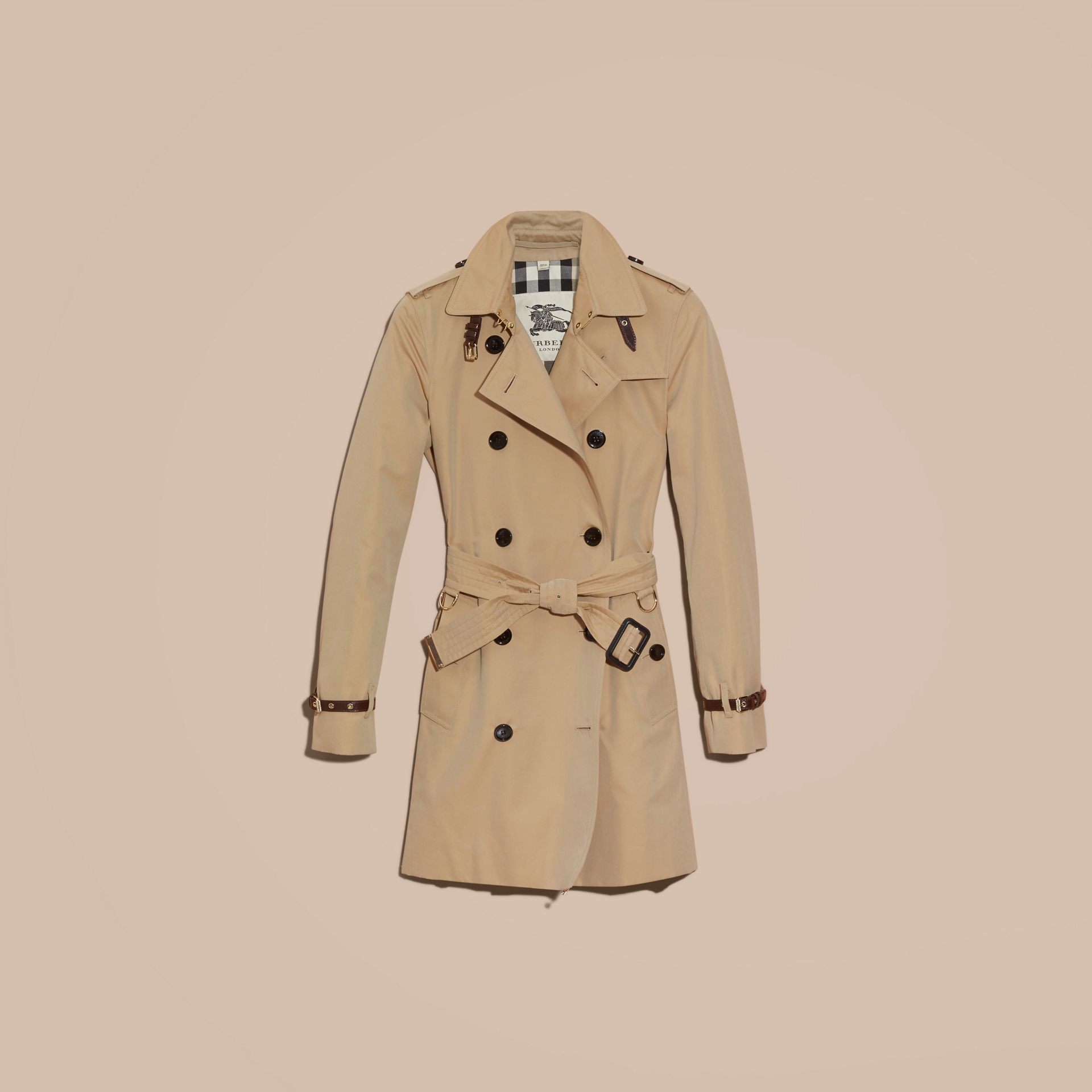 Honey Leather Detail Cotton Gabardine Trench Coat Honey - gallery image 4