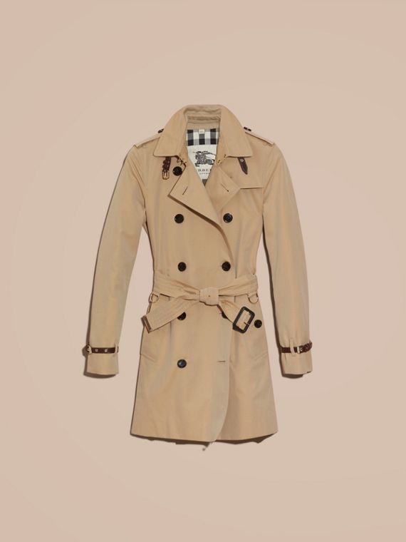 Honey Leather Detail Cotton Gabardine Trench Coat Honey - cell image 3