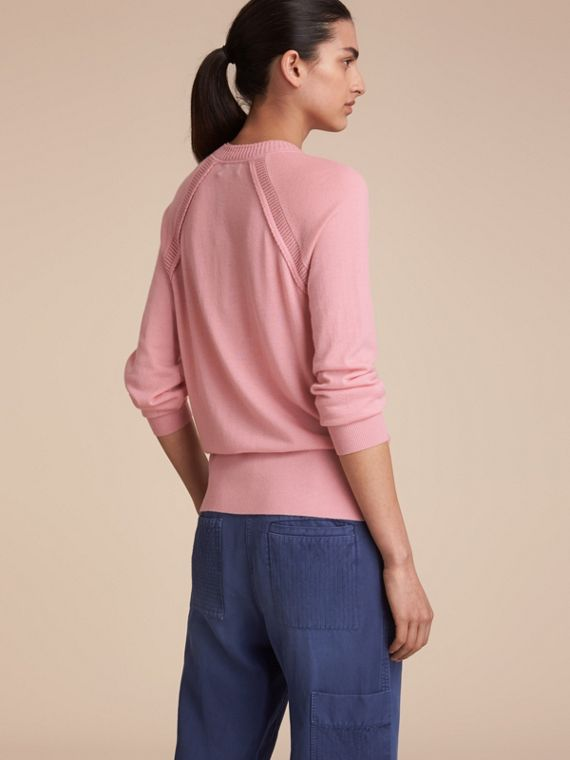 Open-knit Detail Cashmere Cardigan in Apricot Pink - Women | Burberry Australia - cell image 2