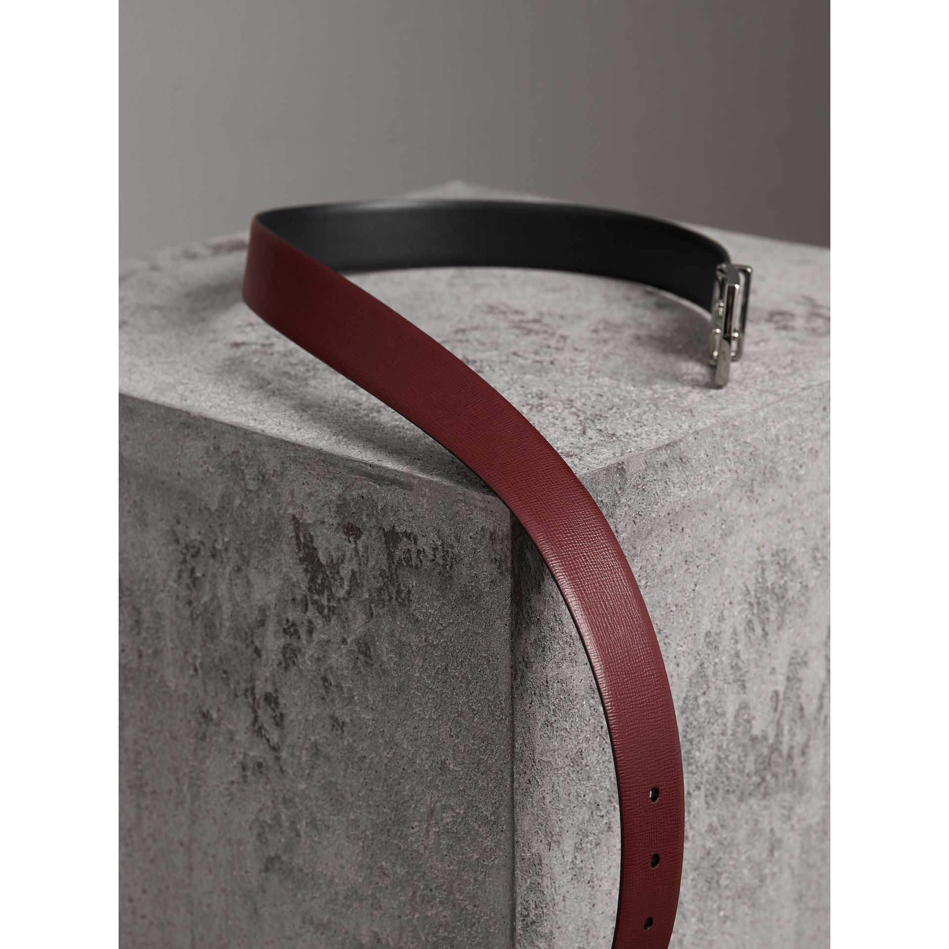Reversible London Leather Belt in Burgundy Red/black - Men | Burberry United Kingdom - gallery image 4