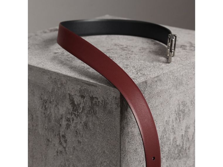 Reversible London Leather Belt in Burgundy Red/black - Men | Burberry - cell image 4