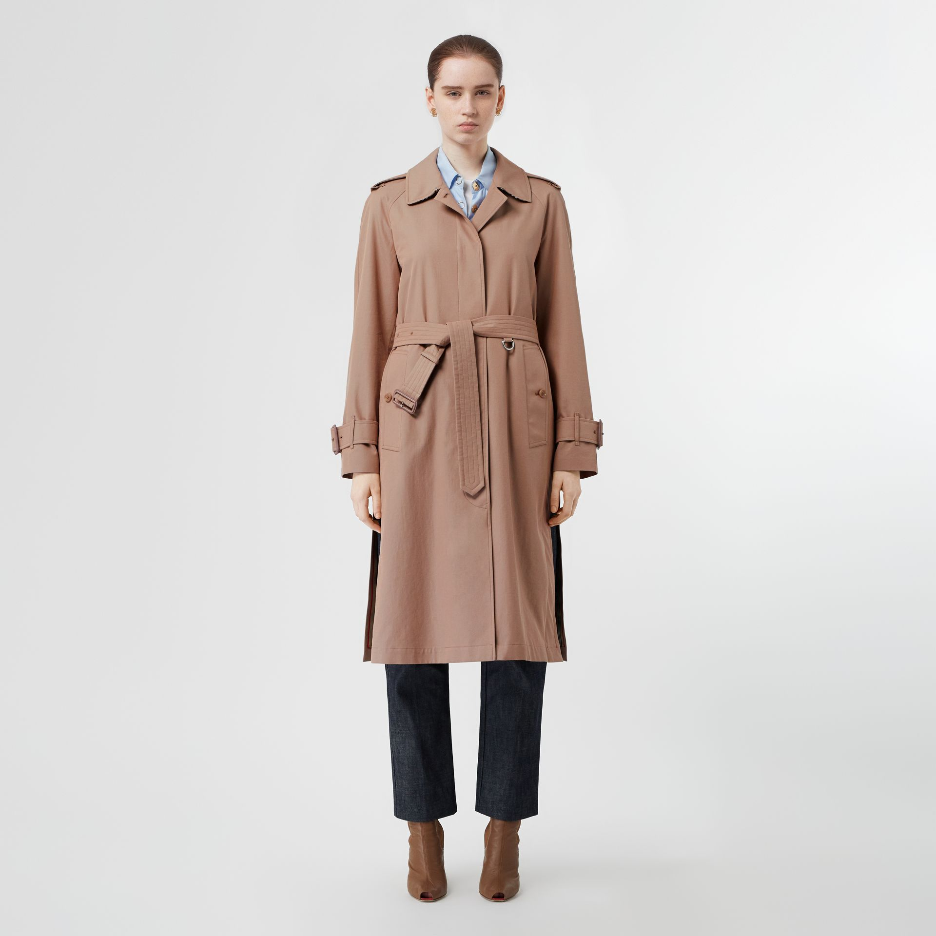 Tropical Gabardine Belted Car Coat in Pink Apricot - Women | Burberry United States - gallery image 6