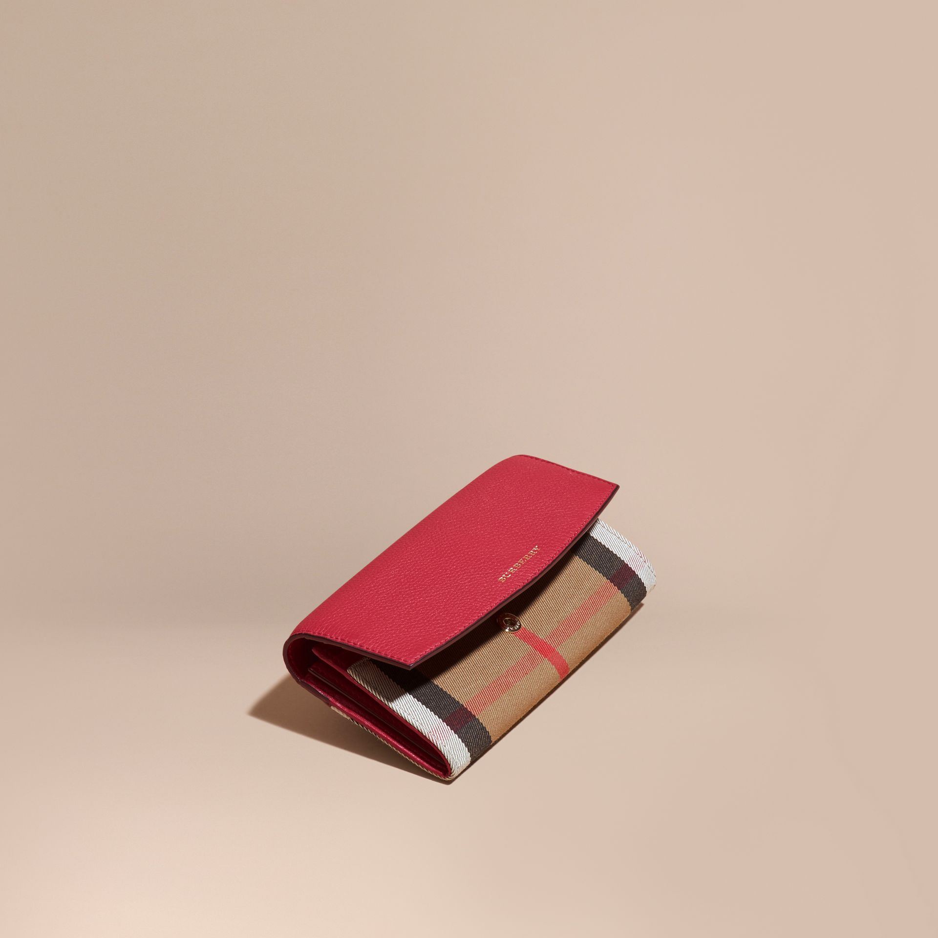 House Check And Leather Continental Wallet in Military Red - Women | Burberry Australia - gallery image 1