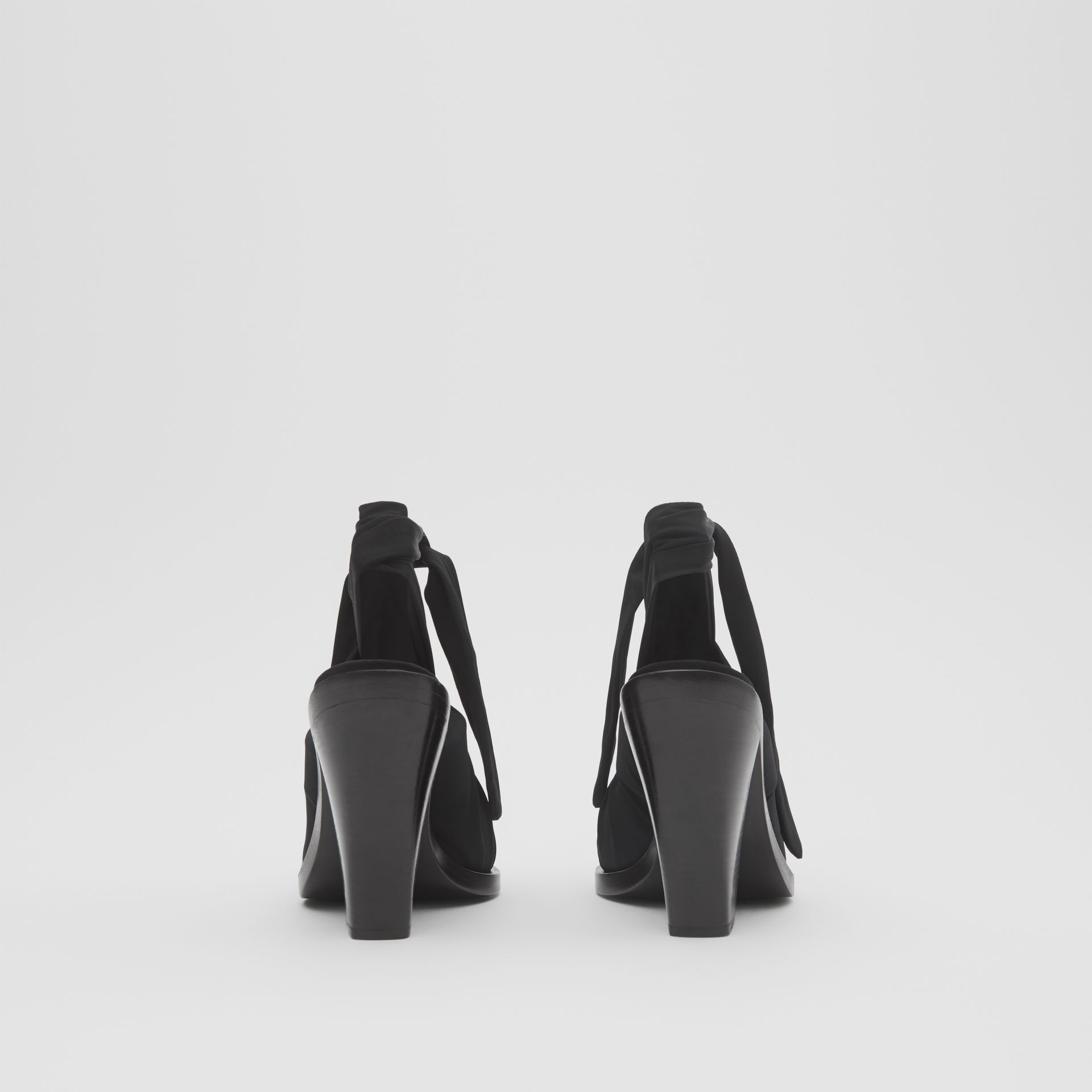 Scarf Tie Detail Leather Point-toe Mules in Black - Women | Burberry - gallery image 4
