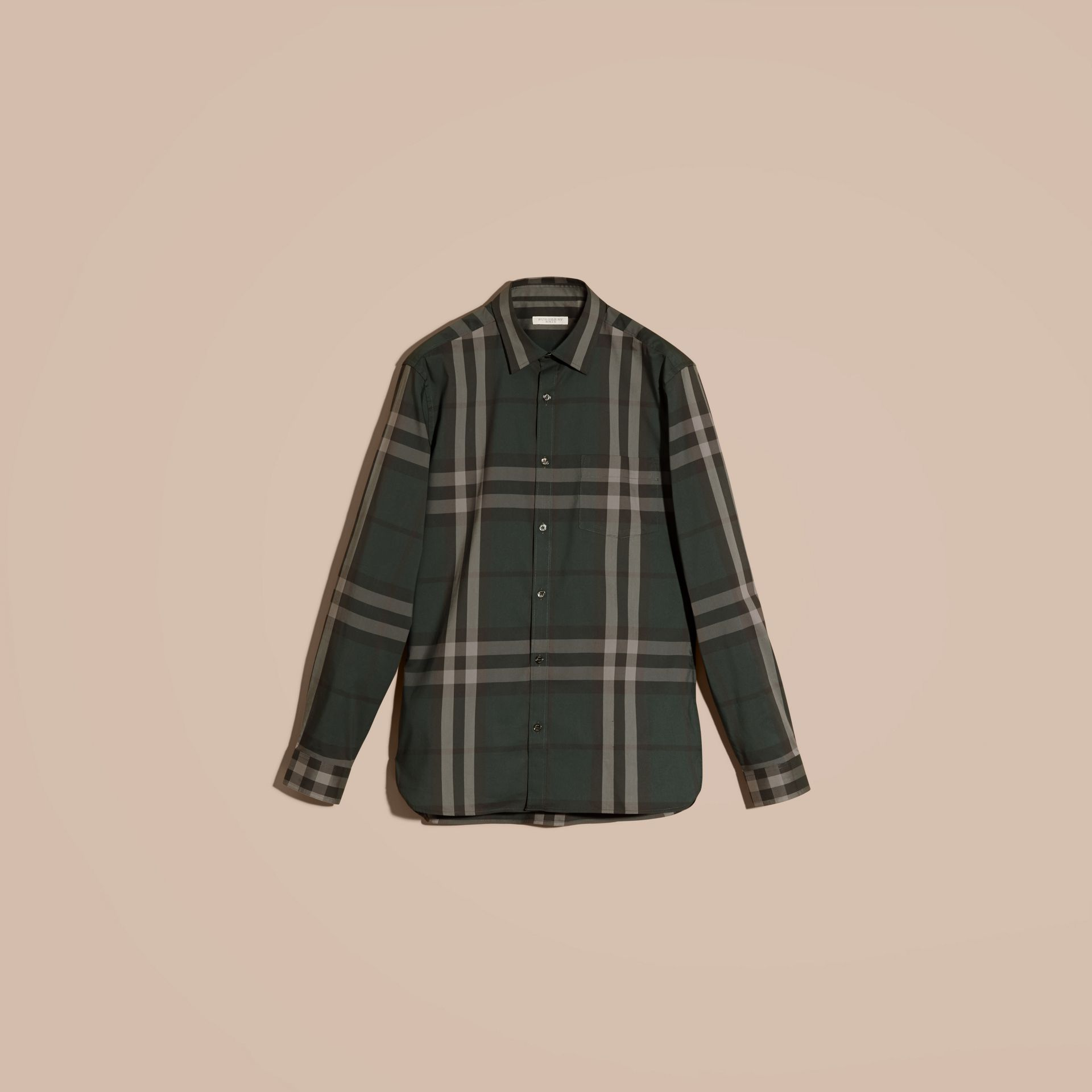 Racing green Check Stretch Cotton Shirt Racing Green - gallery image 4