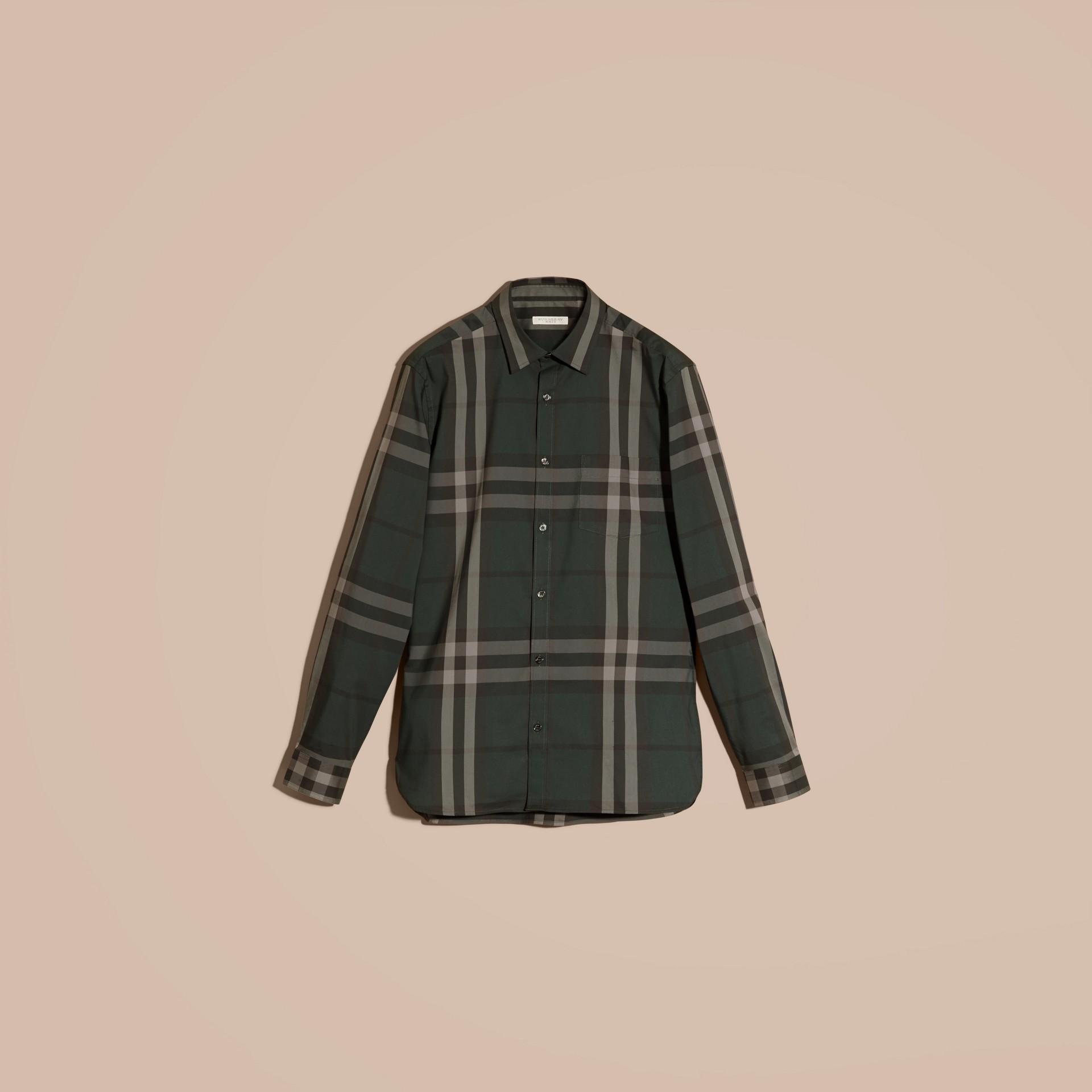 Verdone Camicia in cotone stretch con motivo check Verdone - immagine della galleria 4