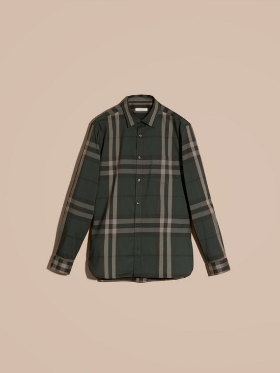 Racing green Check Stretch Cotton Shirt Racing Green - cell image 3