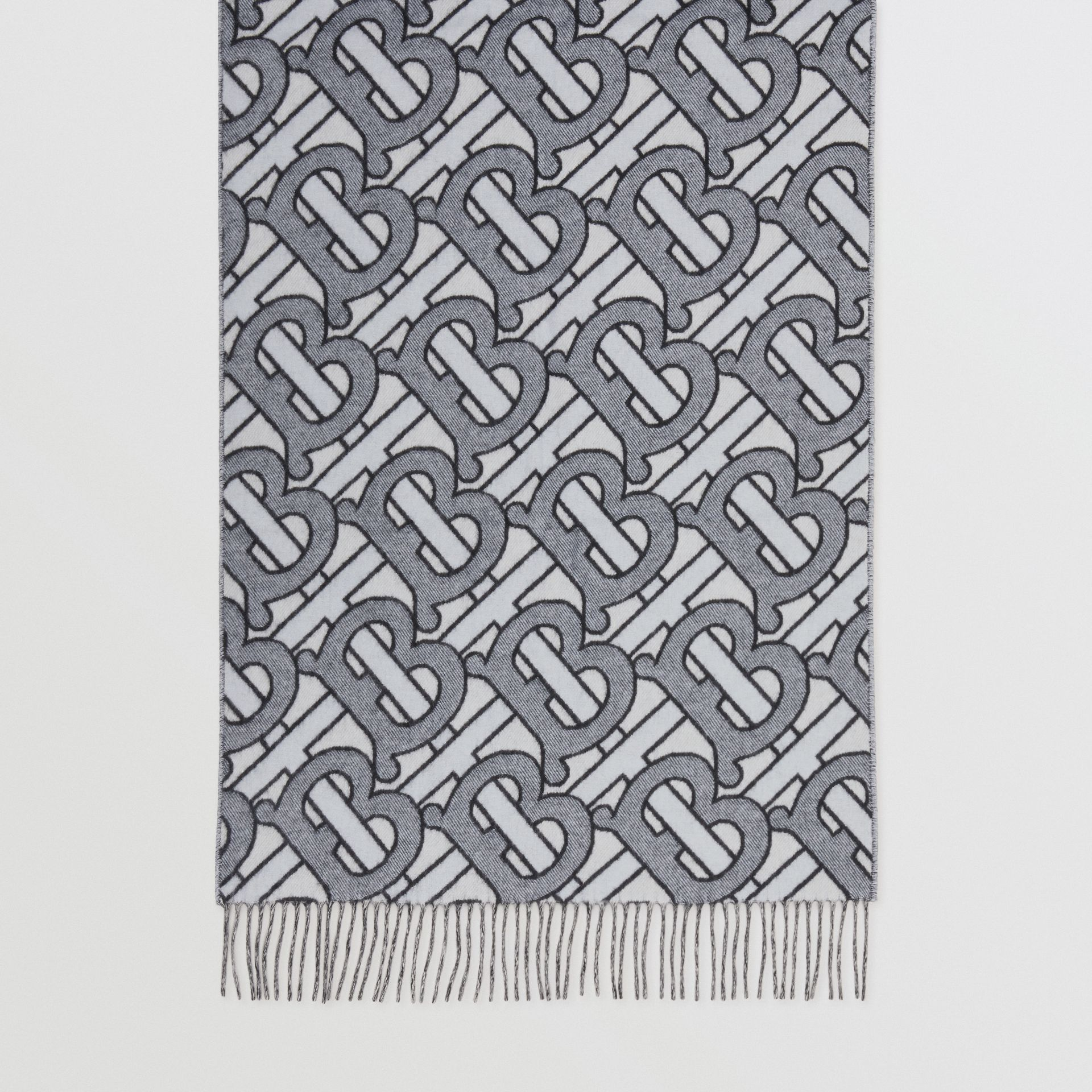 Monogram Cashmere Jacquard Scarf in Light Blue | Burberry - gallery image 4