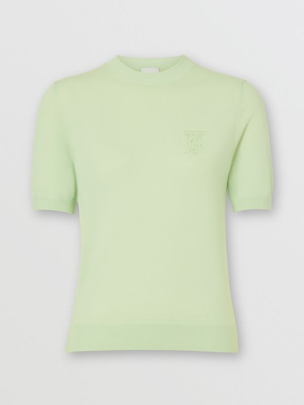 Monogram Motif Cashmere Top in Pistachio - Women | Burberry United Kingdom - cell image 3