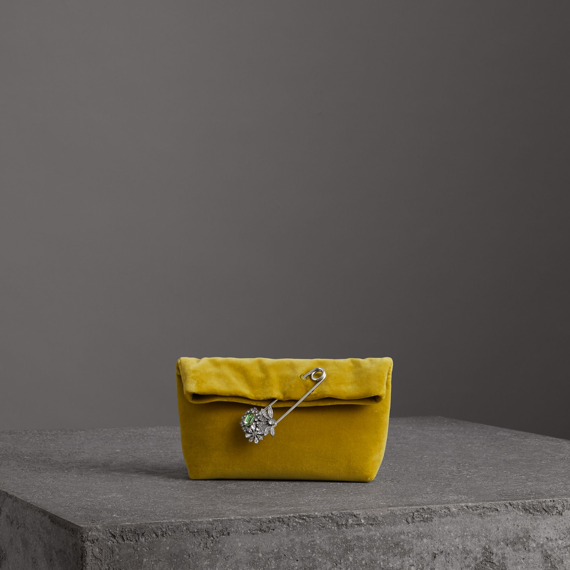 Burberry Small Velvet Embellished Pin Clutch In Larch Yellow ... 1eae5e83eda99
