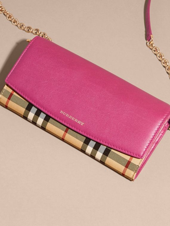 Brilliant fuchsia Horseferry Check and Leather Wallet with Chain Brilliant Fuchsia - cell image 2