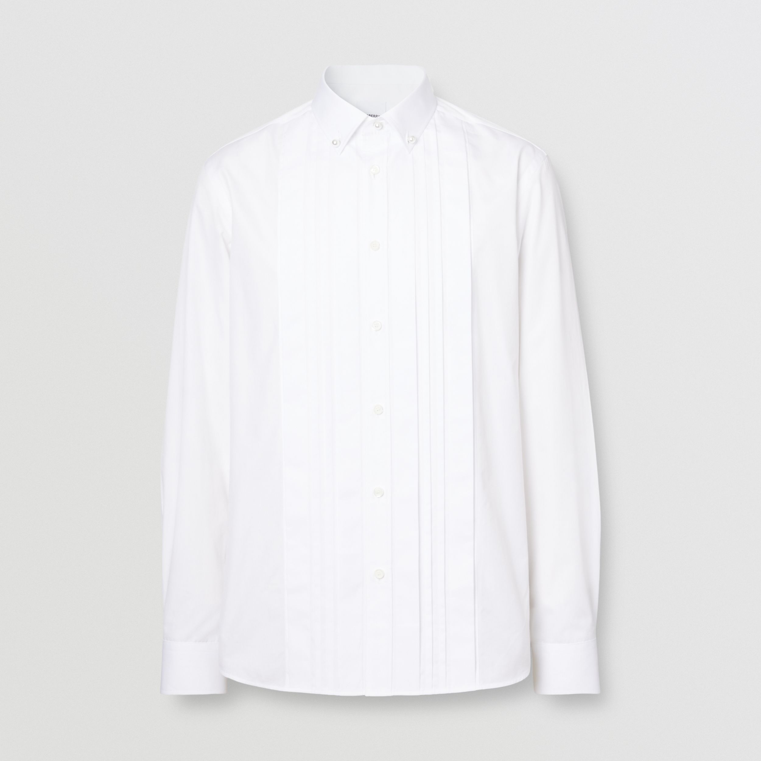 Resin Pearl Detail Cotton Poplin Dress Shirt in White - Men | Burberry - 4