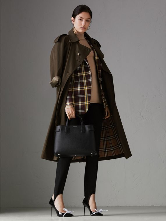 The Banner media in pelle e motivo Vintage check (Nero) - Donna | Burberry - cell image 2