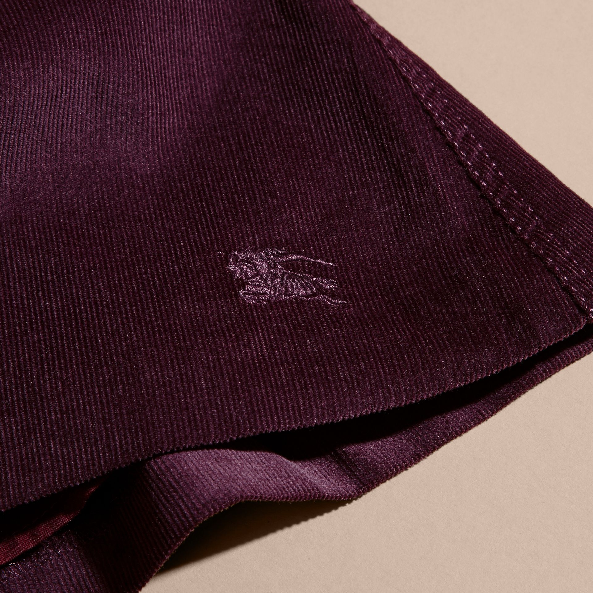 Blackcurrant Pleated Cotton Corduroy Skirt - gallery image 2