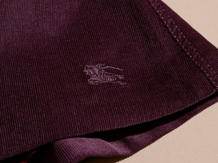 Blackcurrant Pleated Cotton Corduroy Skirt - cell image 1
