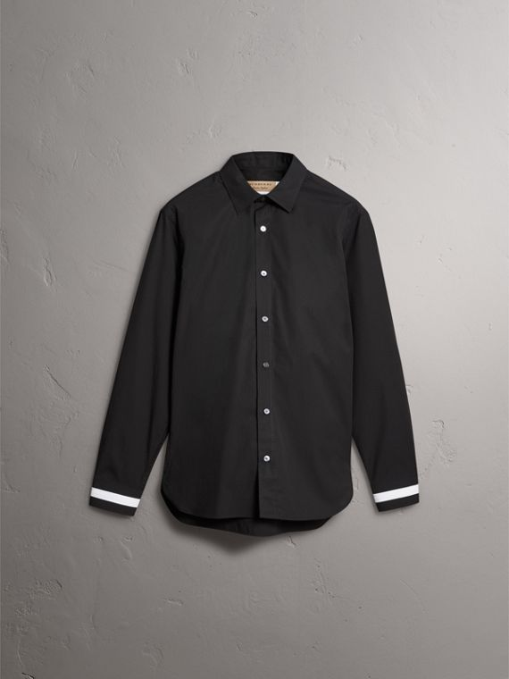 Striped Cuff Stretch Cotton Shirt in Black - Men | Burberry Canada - cell image 3