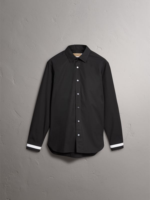 Striped Cuff Stretch Cotton Shirt in Black - Men | Burberry - cell image 3