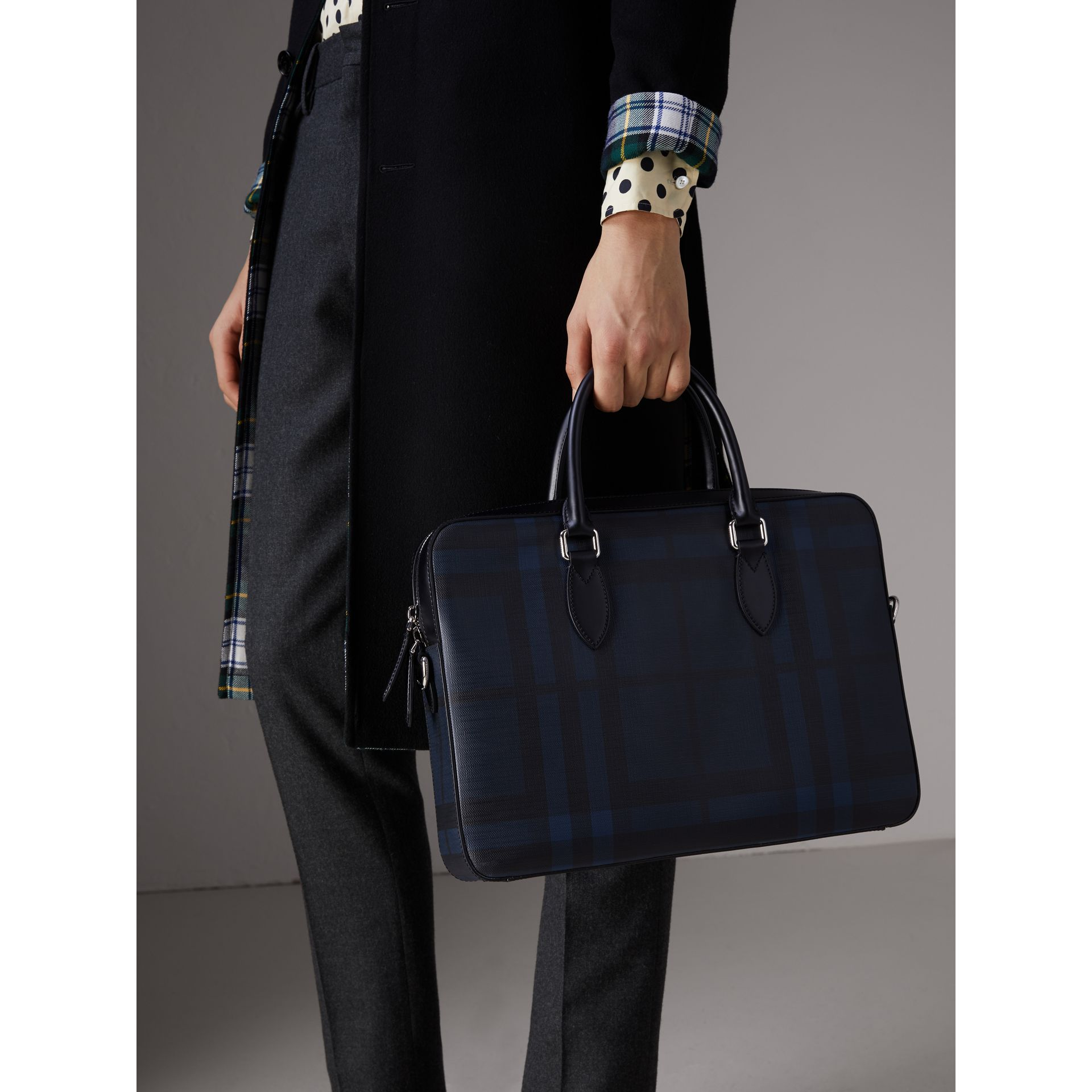 Medium Leather Trim London Check Briefcase in Navy/black - Men | Burberry Australia - gallery image 3