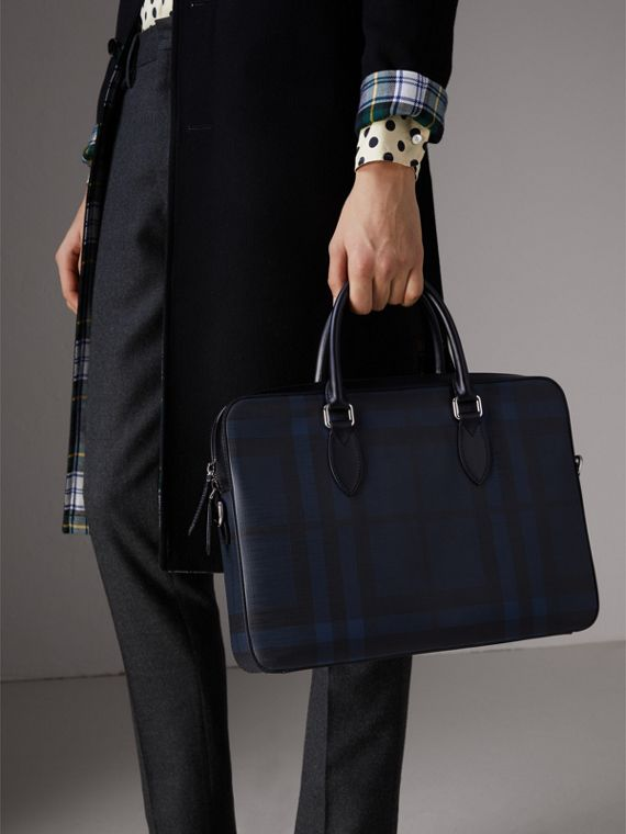 Medium Leather Trim London Check Briefcase in Navy/black - Men | Burberry - cell image 3