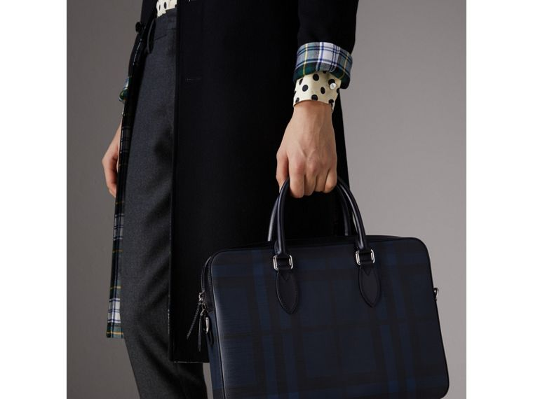 Medium Leather Trim London Check Briefcase in Navy/black - Men | Burberry Australia - cell image 4
