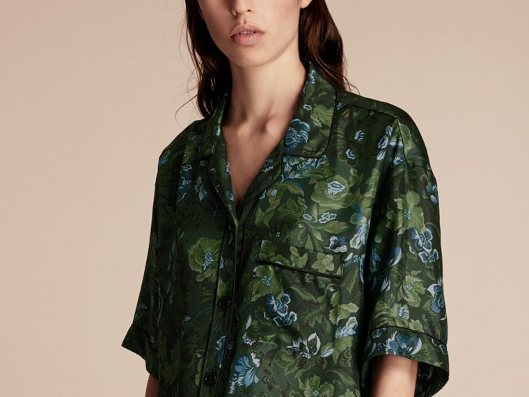 Forest green Short-sleeved Floral Print Silk Pyjama-style Shirt Forest Green - cell image 4
