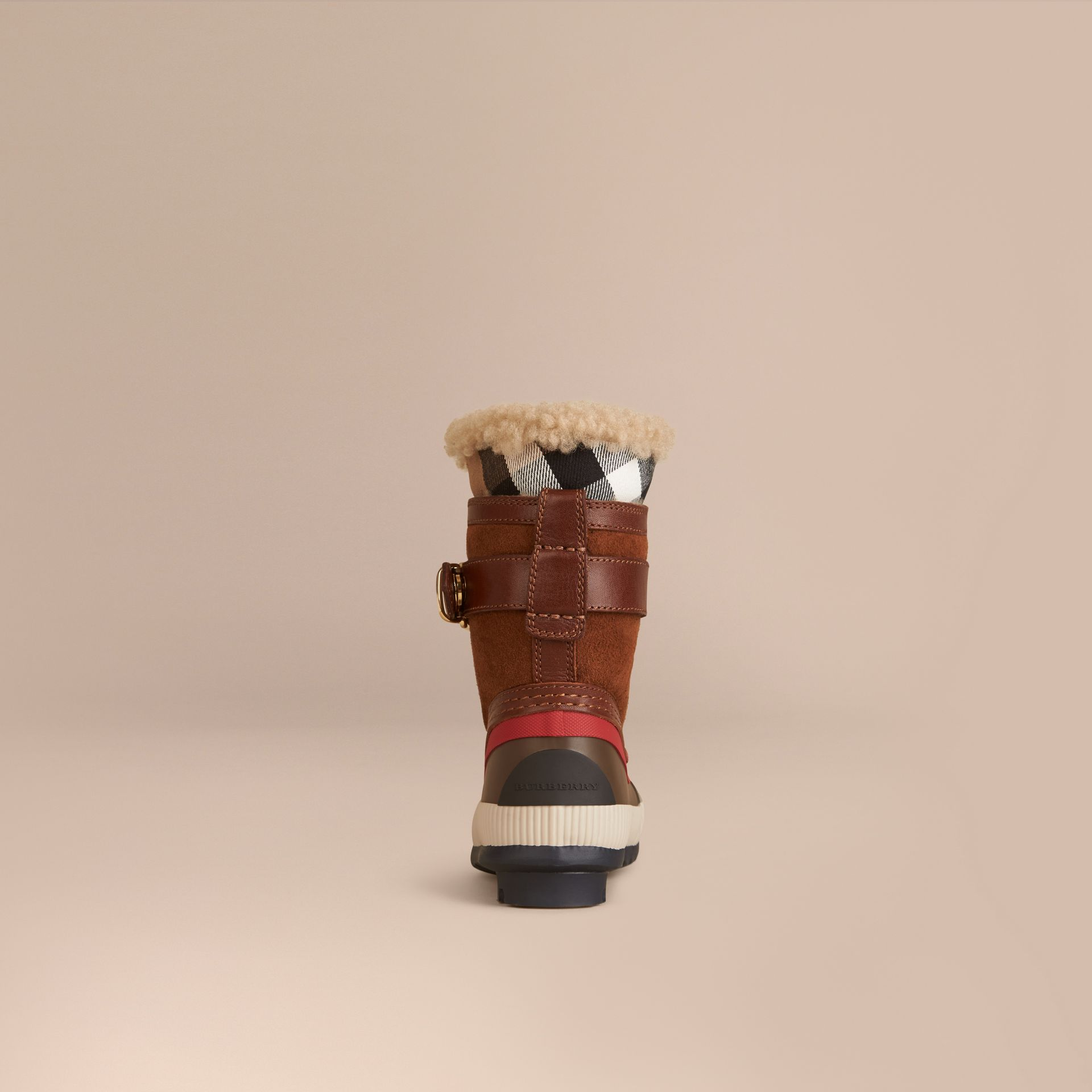 House check/khaki House Check and Suede Trim Shearling Boots - gallery image 2